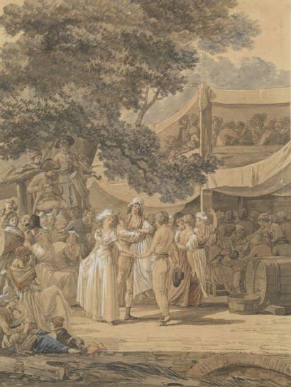 Attr. à Jean Baptiste MALLET (1759-1835) Fête villageoise Aquarelle. 32,5 x 24 cm...