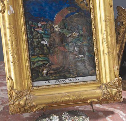 Plaque en émail représentant saint François...
