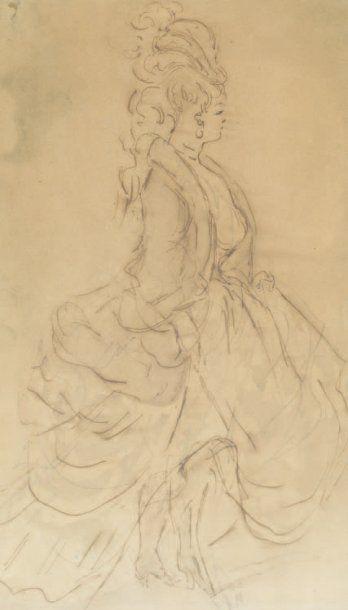 Constantin GUYS (1802-1892) Elégante en pied en crinoline Plume. (petits accidents)....
