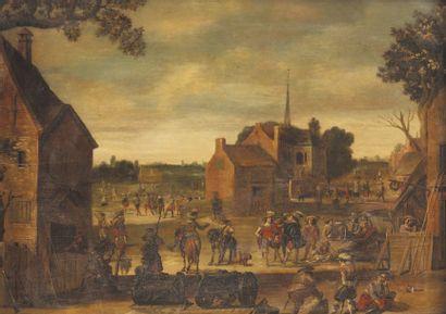 École FLAMANDE du XVIIe siècle, suiveur de Sébastien VRANCX Halte de militaire sur...