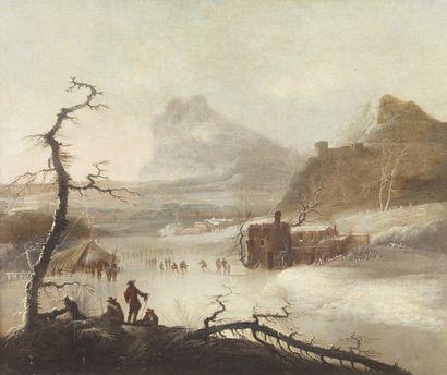 École ALLEMANDE du XVIIIe siècle Patineurs sur une rivière gelée Toile. (accidents...