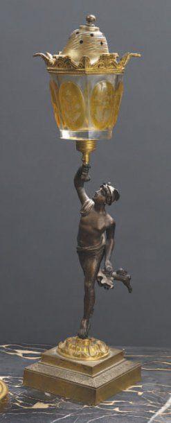 Lampe en bronze ciselé et patiné à décor...