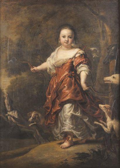 Jan Van NOORDT (né vers 1620, actif de 1644 à 1676) Portrait de jeune fi lle en Diane...