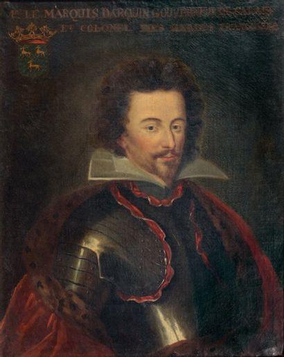 École FRANCAISE du XVIIe siècle Portrait du marquis d'Arquin (1613-1707) en buste,...