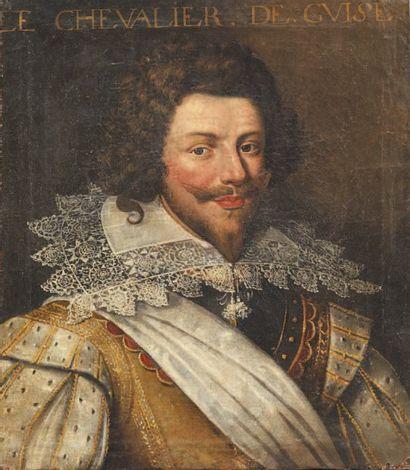 École FRANCAISE, vers 1630 Portrait dit du chevalier de Guise Toile. Annoté en haut...