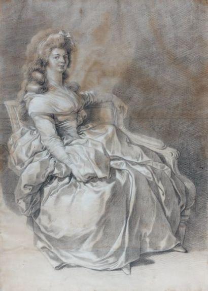 Attr. à Pierre CHASSELAT (Paris 1753-1814) Elégante assise Crayon noir, estompe et...