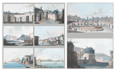 École NAPOLITAINE vers 1820 Vues de Naples et des environs Suite de douze gouaches...