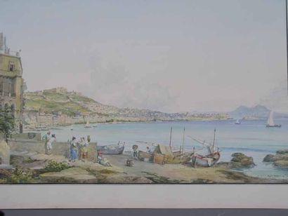 École ITALIENNE Baie de Naples Aquarelle, porte une signature Consalvo Carelli (1818-1900)....