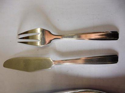 12 COUVERTS A POISSON modèle bord cannelure métal argenté fabricant ARGENTAL (bon...