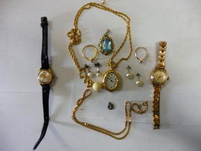 LOT COMPRENANT : 2 montres bracelet, 2 bagues,...