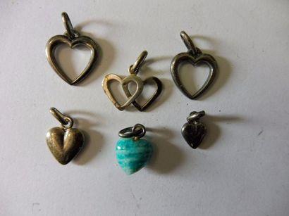 6 PENDENTIFS '' cœur'' argent et amazonite...