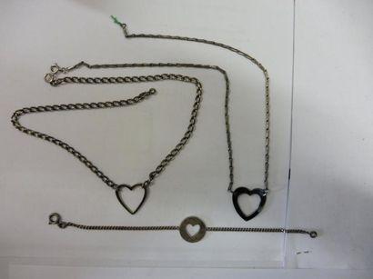 2 COLLIERS et 1 BRACELET motif ''cœur'' argent 22,66 g. long 38, 40 et 17 cm
