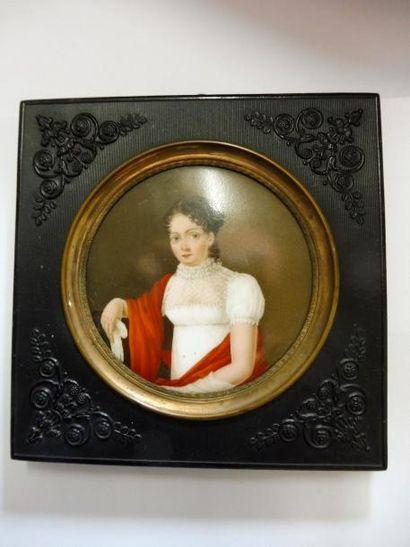 ''Jeune fille au châle rouge'' peinture sur...