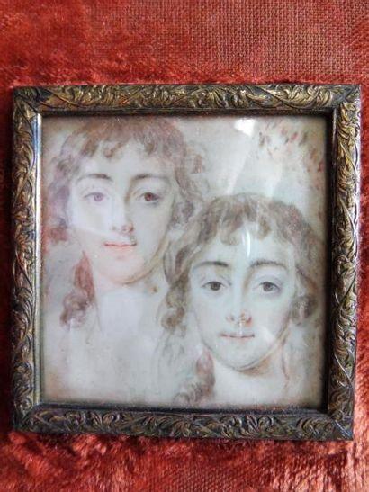 3 MINIATURES ''femme à la haute coiffure'' dessin aquarellé 11,5 x 9,5 cm - ''jeune...