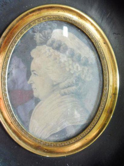ECOLE FRANCAISE fin XVIII, ''portrait de Charlotte CORDAY'' dessin à la plume sur...