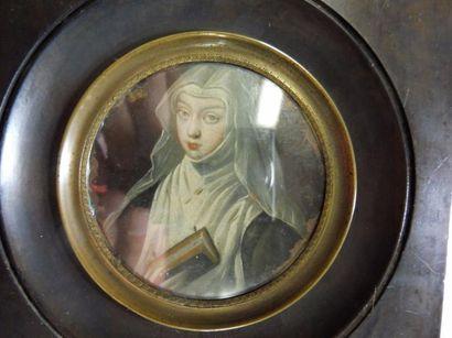 ECOLE FRANCAISE, début XVIII ''l'abbesse au livre'' huile sur cuivre de forme ronde...