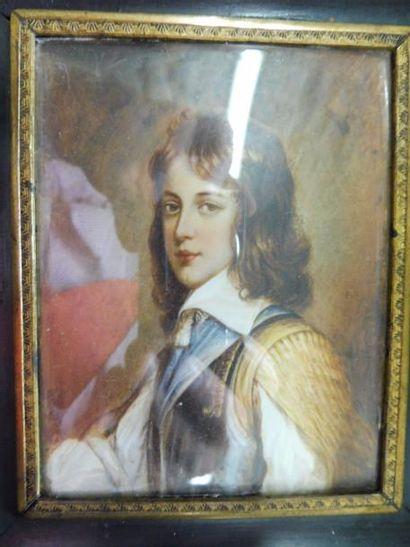ECOLE ANGLAISE d'après VAN DYCK ''portrait d'un jeune prince'' aquarelle sur ivoire...