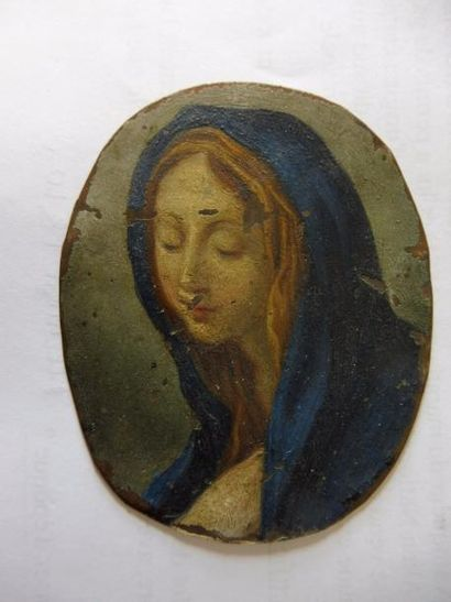 ECOLE FRANCAISE XVIIème ''Vierge en ravissement'' huile sur cuivre ; au revers ''Sainte...