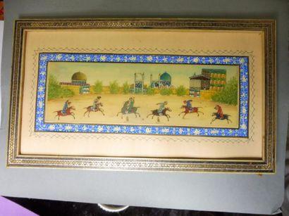 ECOLE IRANIENNE ''les joueurs de polo'' miniature sur ivoire 6,5 x 20 cm encadrement...