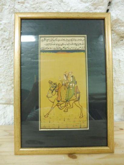 ECOLE INDIENNE ''couple de personnages sur un chameau'' aquarelle gouachée sur papier...