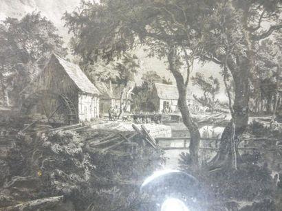 BELARMES ''le moulin'' gravure en noir signée en bas à droite 55 x 43,5 cadre