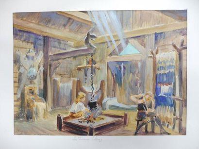 BETOUT C. ''intérieur viking'' aquarelle,...