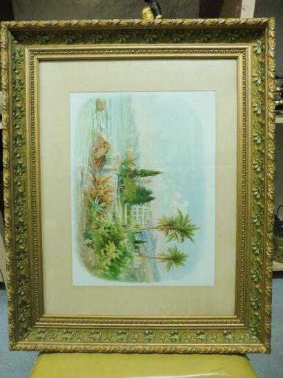 ''2 paysages de la côte méditerranéenne'' deux lithographies en couleurs x 44,5...