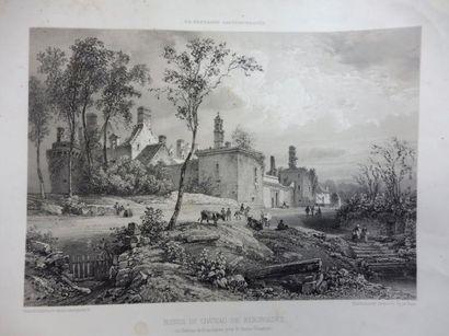 2 GRAVURES ''ruines du château de KERGROADES''...
