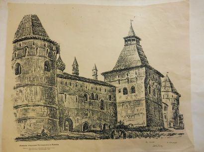 2 GRAVURES ''ruines du château de KERGROADES'' en noir et bistre et ''SAINT BRIEUC''...