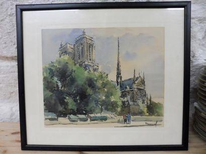 ROUSSEL GT –Notre Dame de Paris'' aquarelle...