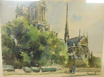 ROUSSEL GT –Notre Dame de Paris'' aquarelle signée en bas à droite – 21,8 x 26,5...