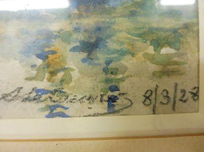 ECOLE FRANCAISE ''au bord d'une rivière'' aquarelle signée en bas à droite (illisible)...