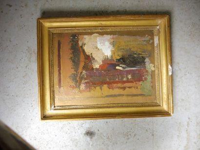 ECOLE MODERNE ''abstraction'' huile sur carton 21,3 x 15 cm cadre à gorge doré (éclats)...