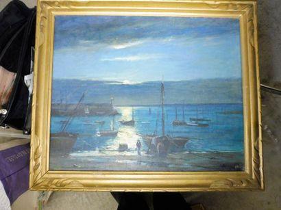 ECOLE FRANCAISE ''levé de soleil sur le port''...