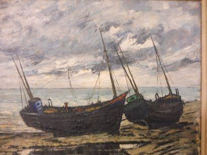 RENDU M''bateaux de pêche sur la grève''...