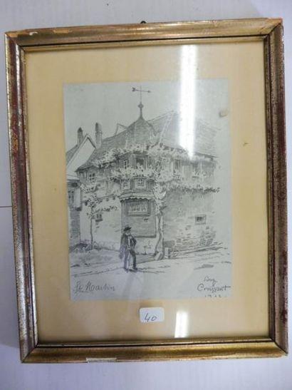 CROISSANT Auguste 1870-1941 ''le vase de giroflée'' gouache signée en bas à gauche...