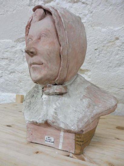 MERCIER Louis ''tête de femme au capuchon''...