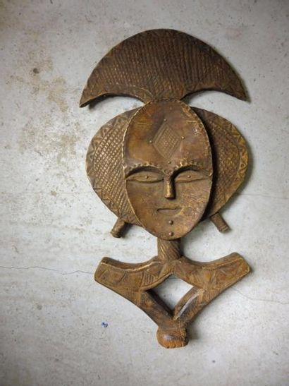 RELIQUAIRE plaque de laiton sur bois style...