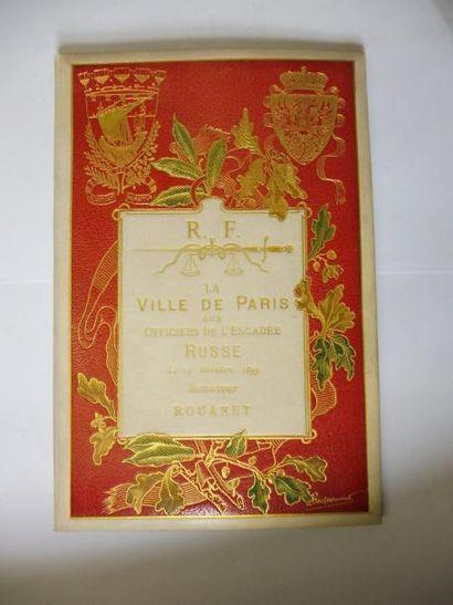 RELIURE ''la ville de PARIS aux officiers de l'escadre russe le 19 octobre 1893''...
