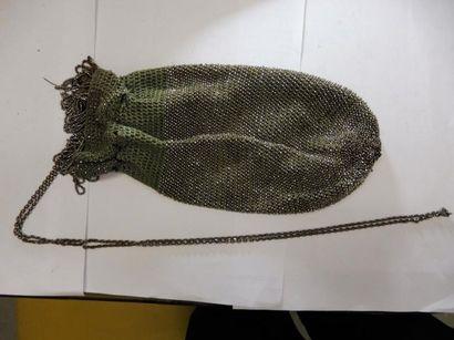 SAC BOURSE coton vert tressé rehaussé de...