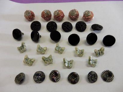 LOT DE PETITS BOUTONS : 6 ronds verre noir...