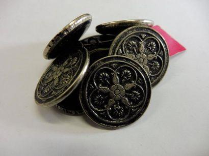 8 GROS BOUTONS ''rosace palmette'' métal...