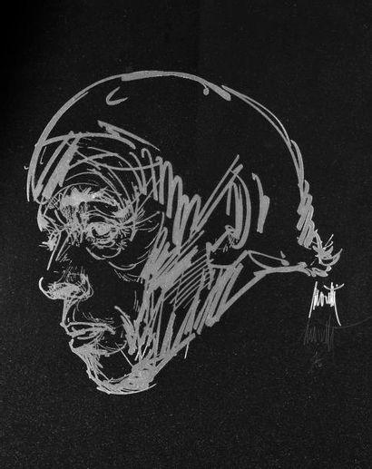 Portrait de Jacques Brel. Gravure sur verre...