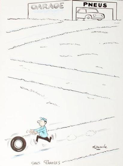 ALEXANDRE. «Garage, pneus. Sans paroles». Encre de Chine et aquarelle originale,...