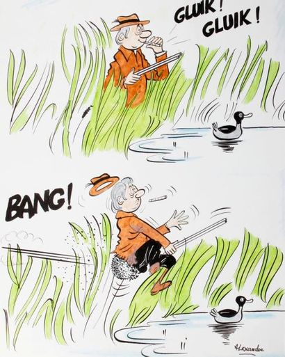 ALEXANDRE. «Gluik! Gluik! Bang!» Encre...