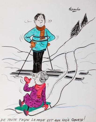 ALEXANDRE. «De toute façon la mode est aux skis courts!» Encre de chine et aquarelle...