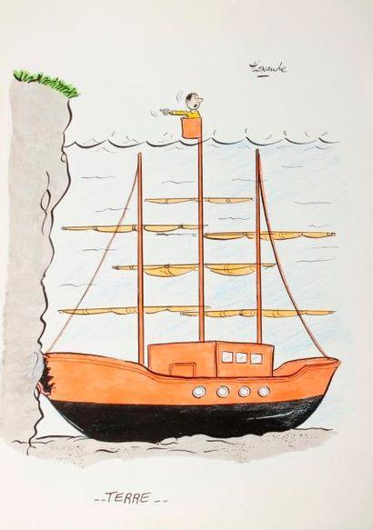 ALEXANDRE. «Terre». Encre de chine et aquarelle originale, signée. 29,5 x 21 ...
