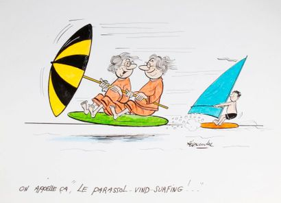 ALEXANDRE. «On appelle ça le parasol wind-surfing!»...
