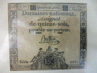 ASSIGNAT de 15 sols, loi de 1793, série 127,...