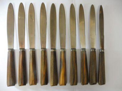 2 SERIES de grands couteaux, manche corne,...
